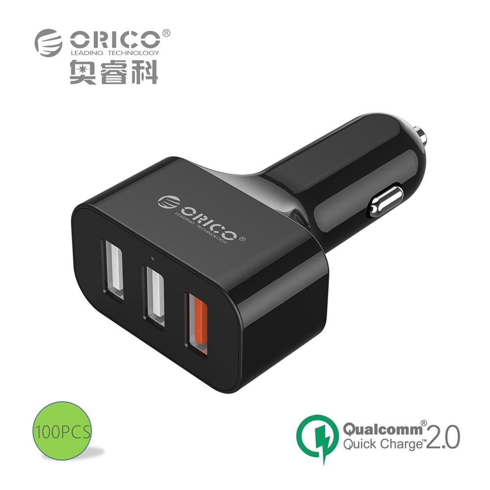 ORICO QC2.0 UCH-2U1Q 3 Порта USB Мини Быстрое Зарядное Устройство для Автомобиля для Телефона iPad-Черный/Белый 100 ШТ.