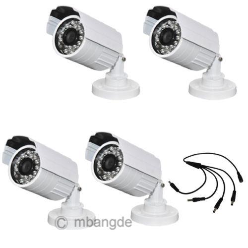 4PCS 1200TVL 24IR 6mm CMOS IR-CUT Security Video Waterproof Outdoor CCTV Bullet Camera Surveillance System for home protection