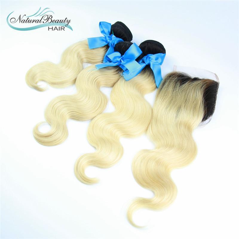 Бразильский omber блондин с закрытием 7А класс 3 пачки с закрытия объемная волна бразильского волос закрытия шнурка бесплатная доставка