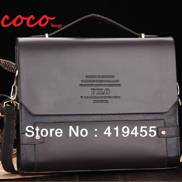 2015 top quality hot sale brand brown shoulder bag men leather briefcase messenger bags(China (Mainland))