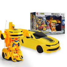 Children Charging Remote control deformation robot car 4Ch rc transformation car Bumblebee one key modification boy toys