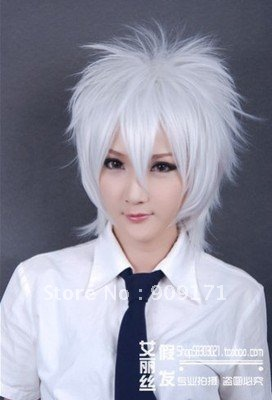 free Shipping*Future City New Short Turn-up Pure White Cosplay Party Synthetic Wig(China (Mainland))