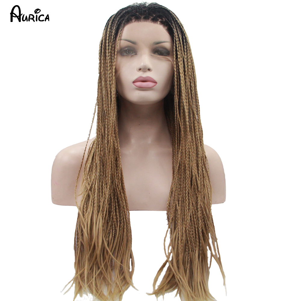 Fashion Straight Ombre Blonde Braiding Synthetic Lace Front Wig Heat Resistant Hair Natural Black/Blonde Big Box Braid Woman Wig<br><br>Aliexpress
