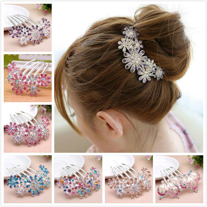 Korea Inlaid Crystal Flower Dish Hair Insert Comb The Bride Rhinestone Comb Pentadentate Tiara For Wedding Romantic 7Z-XN002(China (Mainland))