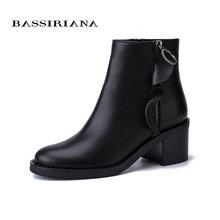 BASSIRIANA Yeni 2017 hakiki deri süet bayan ayakkabıları kadın yarım çizmeler yuvarlak ayak kare yüksek topuk zip Sonbahar siyah 35- 40 boyutu(China)