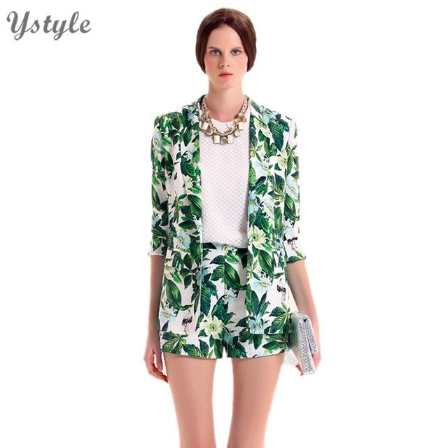 Новинка 2016 женщин элегантный зеленый лист и цветок тонкий блейзеры свободного покроя ...