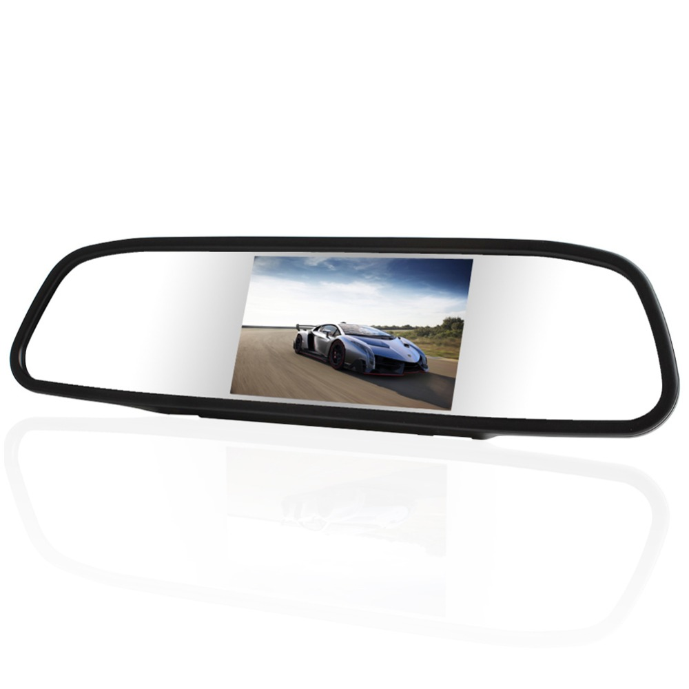 Universal 4.3 Inch TFT LCD Car Rear View Mirror Monitor With 2 AV Input Auto Switch For Car Rearview Camera Parking Accessories(China (Mainland))