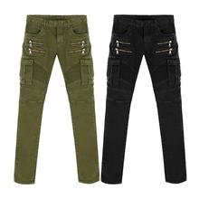 Новое поступление высокое качество зеленый черный мотоцикл джинсовые байкер джинсы мужчин тощий 2016 тонкие эластичные джинсы хип-хоп промывают(China (Mainland))