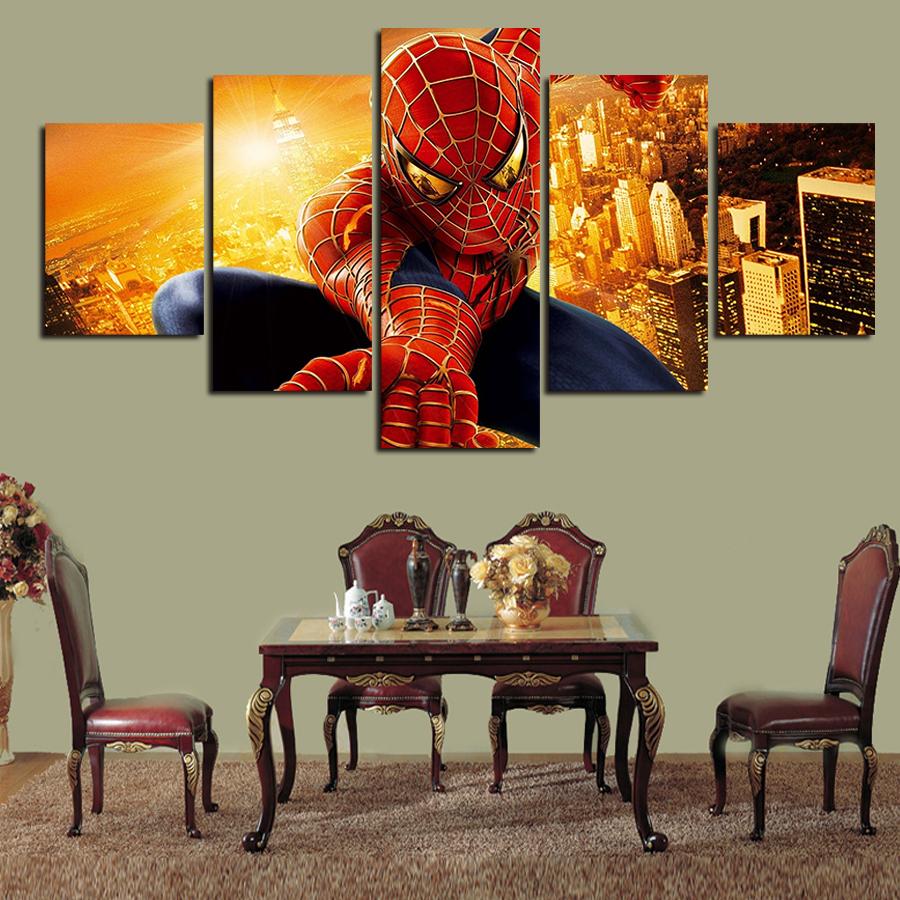 5 Panel Moderna Impreso Hombre Araña de la Historieta de la Lona Pintura Imagen Impresiones de arte Home Decor Pared Pictures For Living Room No marco(China (Mainland))