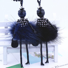 Cute Lovely Wool Dress Doll Necklace Crystal Women Jewelry wholesale retail stores gifts jewelry Free shippings!