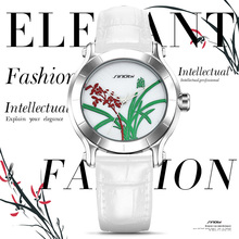 SINOBI New Orchid Elegant Women Watches For China Brand Ladies White Leather Wristwatch Waterproof Female Clock Kadin Saatler