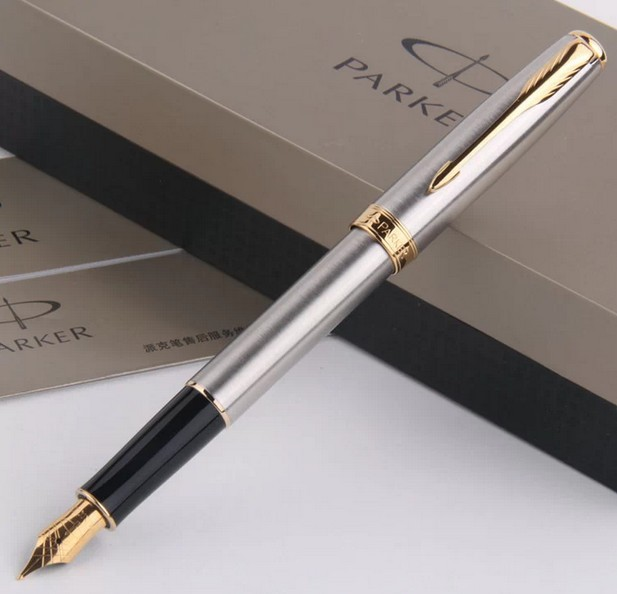 1pcs/lot Fountain Pen Parker Sonnet Pen Brand Silver Pen Gold Clip Caneta Office Supplies Stationery Free Shipping(China (Mainland))