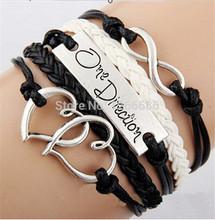 3000pcs/lot  One Direction Double Heart Leather Infinity Charm Bracelet Bangle Wristband(China (Mainland))
