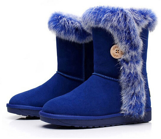 Фотография Genuine Leather + Real Rabbit Fur Boots Winter Boots Waterproof Snow Boot Cowhide Boots free shiping wholesale