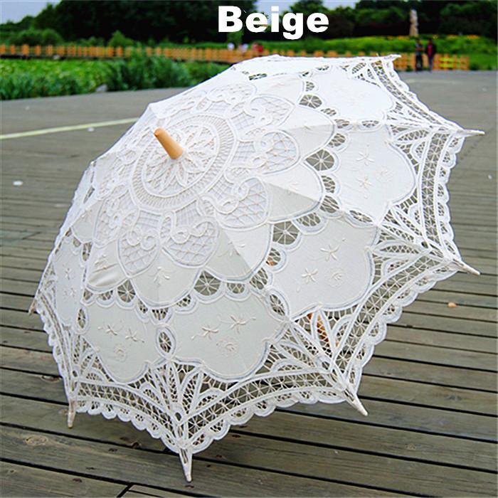 Vintage Lace Wedding Umbrella parasol Beige Handmade Cotton Embroidery Sun Umbrella bridal Wedding Decorations 10pcs/lot(China (Mainland))