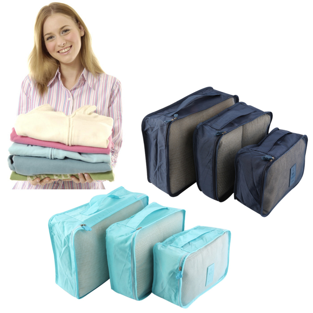 6pcs/Set Waterproof Clothes Storage Bag Packing Cube Travel Luggage Organizer Best Price(China (Mainland))
