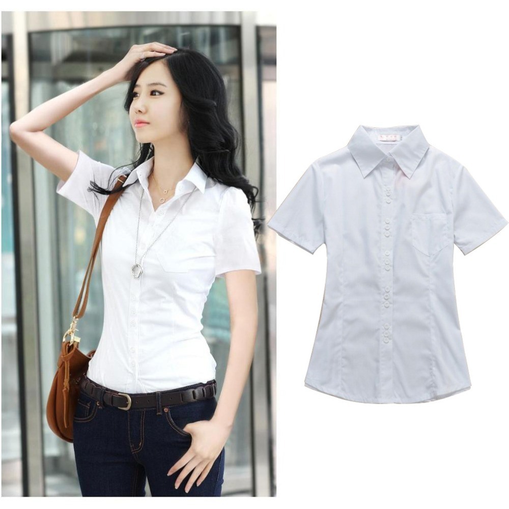 Short Sleeve Blouse For Work - Tie Blouse