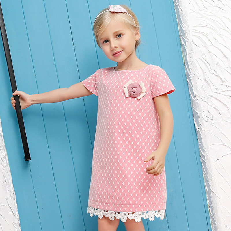 New 2016 Summer Children Girl Sleeve Lace Dress Kids Clothes Cotton Child Party Princess Tank Girl Dress Sundress Age 2-12T(China (Mainland))