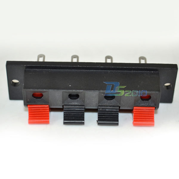 Black Red Push Type Speaker Terminal Board 4 Positions Stereo Power Audio Strip(China (Mainland))