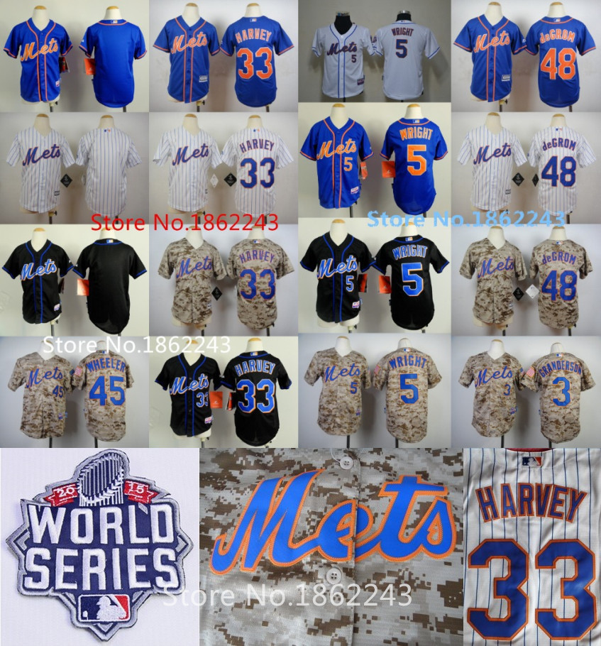 Гаджет  2015 World Series New York Mets Youth Jersey 33 Matt Harvey Camo 48 Jacob deGrom White Kids 5 David Wright  Blank Boys Jersey None Спорт и развлечения