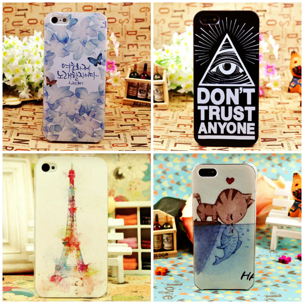 2014 Many kinds of cute style charm choice Colored Pattern Hard Back Skin Phone Case Cover For iPhone 5C(China (Mainland))