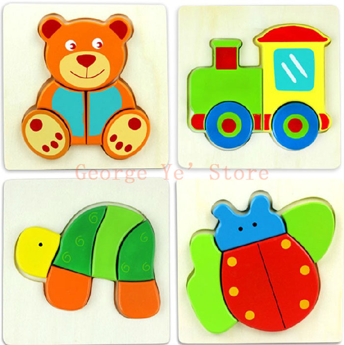 Free Shipping+ 3 Pieces/lot 3D Puzzle Cartoon Animal + Vehicle + Plant Game Wooden Toys Children Learning & Education(China (Mainland))