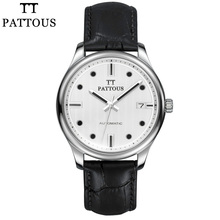 PATTOUS Mens Watch Brands Leather Skeleton Automatic Mechanical Watches Clock 50m Waterproof With Wood Box Gift for Men Watches