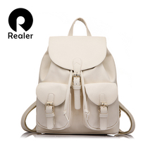 Realer 2016 new vintage casual new style pu leather school bags ofertas famous designer brand backpack for girls(China (Mainland))