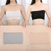 Sexy Women Solid Bandeau Thin Safety Bra Tube Anti emptied Tank Top Strapless Stretch One Size 4 Colors(China (Mainland))