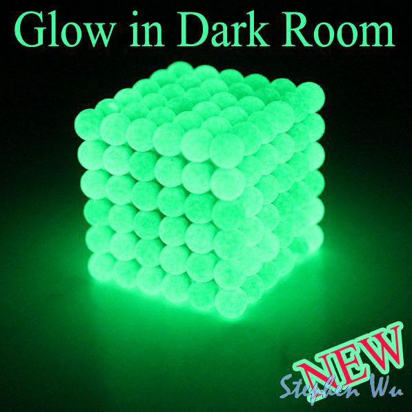 Fluorescent Green Glow 5mm 216 Sphere 6x6x6 magnetic Cube Magnet buckyball Ball Bead Puzzle Neocube(China (Mainland))