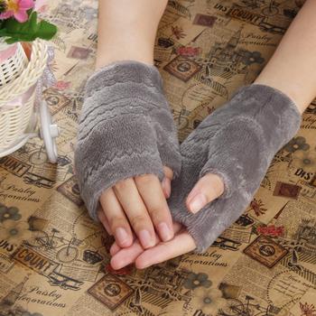 Amazing Winter Autumn Thick Warm Womens Winter Gloves Fingerless Glove Black Red Gray Brown
