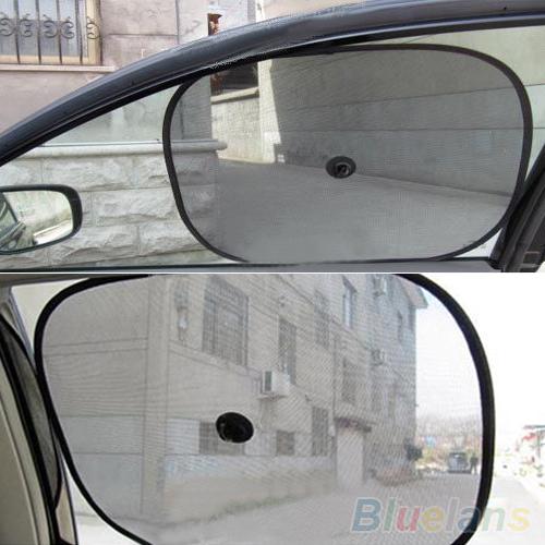1 Pair Black Mesh Car Side Rear Window Sun Shade Cover Visor Shield Screen 1OSA 48K6