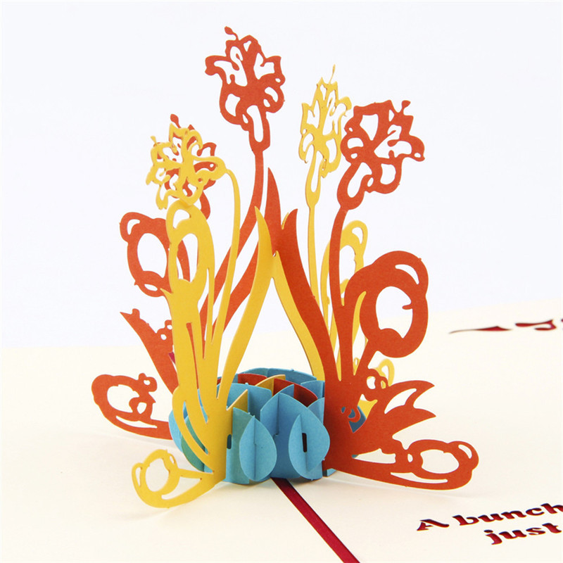 10pcs/lot 3D Daffodil Flower Pattern 3D Pop UP Greeting Cards Creative Thank You Card Thanksgiving Gifts(China (Mainland))