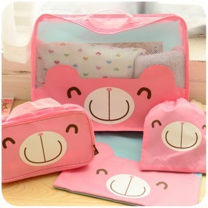 Free Shipping!Top-quality Hot 4pcs(different size)/set Hot Women's travel cute bear storage bag easy live product storage bag(China (Mainland))