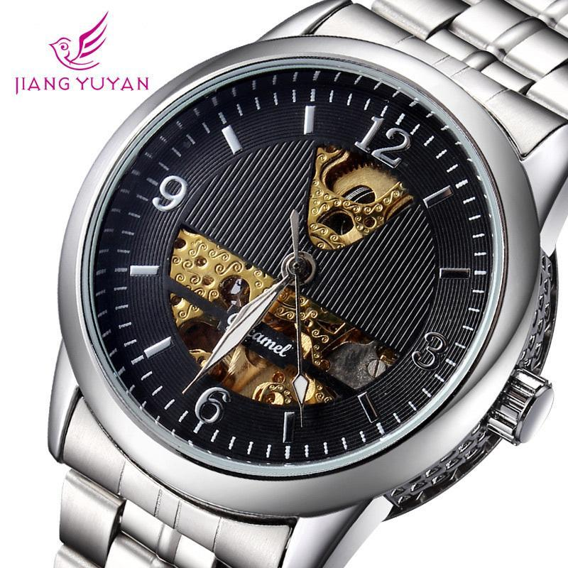 Top Selling Coupon Mechanical Watches Luxury Brand Wristwatch Crystal Mirror Leather Strap Watch Mens Casual Watch<br><br>Aliexpress