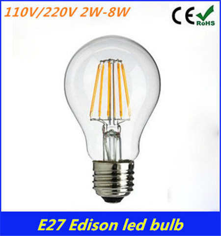 1pcs 2W 4W 6W 8W A60 E27 Led filament bulb 110/240V Edison Retro Bulbble White/ Warm White Energy Saving Light Wholesale(China (Mainland))