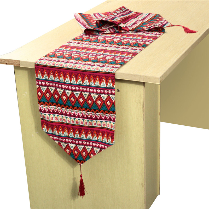 Brand new National style Reversible Bohemian Tassel Tablecloth Cotton Table Runner For Home Party Decor Fabric Crafts