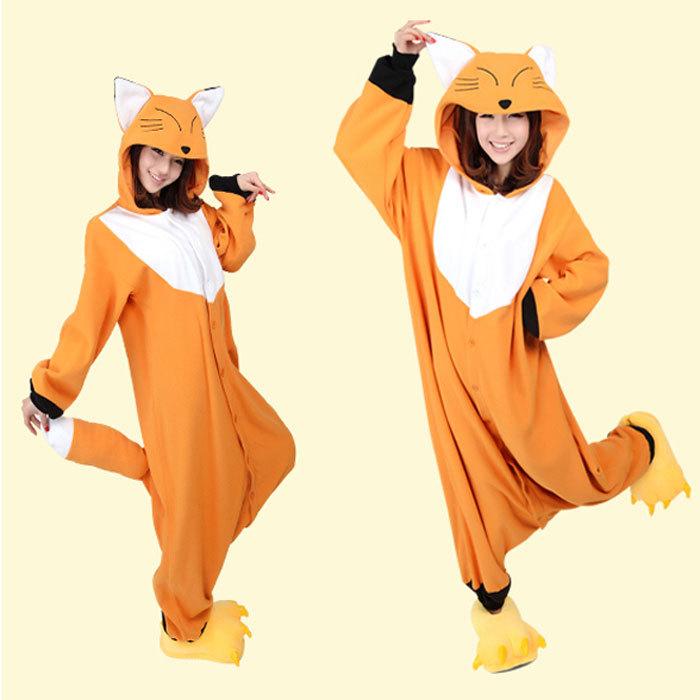 New Japan Animal Sleepwear yellow fox Pajamas Fashion Fresh Fleece Casual Long Sleeve Winter Pyjamas Cosplay Costume(China (Mainland))