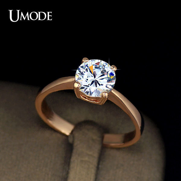 UMODE 18K Rose Gold Plating 4 Prongs 1 25 Carat Single CZ Diamond Simple Enga