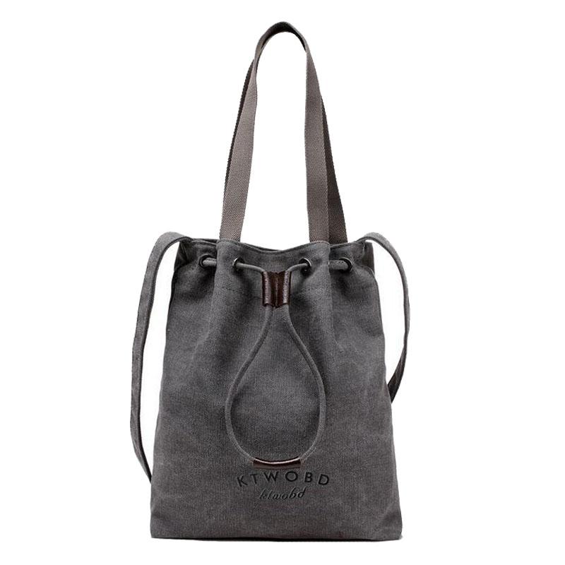 2016 Fashion Female Canvas String Handbags Canvas Shoulder Bags For Women Bucket Messenger Bags Ladies Canvas Bags Femininas 27(China (Mainland))