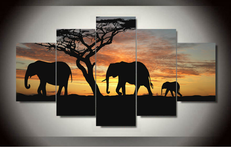 Wall Art Painting of Elephant Canvas Picture Home Decoration Living Room Canvas Print Modern Paintings Unframed 5 Pieces/set(China (Mainland))