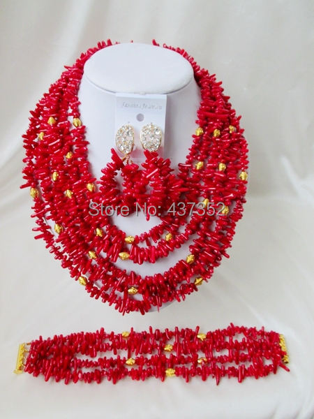 Well Made! Strand Costume Red Coral Beads Necklaces Nigerian Wedding African Beads Jewelry Set TC214<br><br>Aliexpress