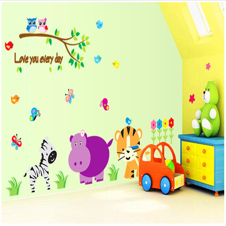 1 Set Love Every Day Cartoon Animal PVC Wall Sticker Kids Room DIY Home Decoration Nursery