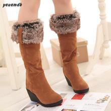 Buy size 34-39 woman snow boot 2016 winter/autumn ladies Suede thigh high Knee boots female 8cm wedge Thick Warm cotton shoes y59 for $54.51 in AliExpress store