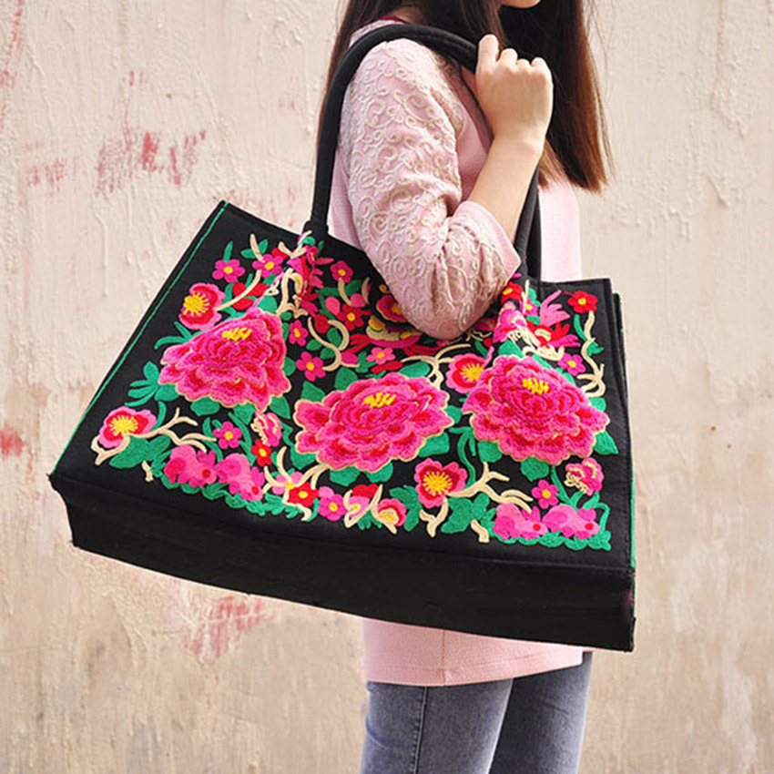 Bohemia National Original embroidery handbags handmade Peony embroidered shoulder bag ethnic Women Large Travel Shopping bag<br><br>Aliexpress