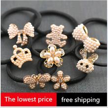 free shipping new 2014 Korean original rubber band hair accessories hair bow pearl hairpins band head hair rope lashing TOP sell(China (Mainland))