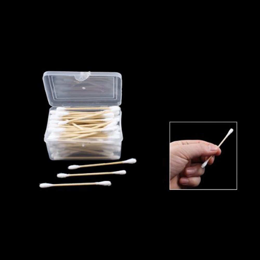 Good Deal ! 80Pcs Disposable Double End Wood Tube Cotton Swab Bud w Rectangle Shaped Case(China (Mainland))