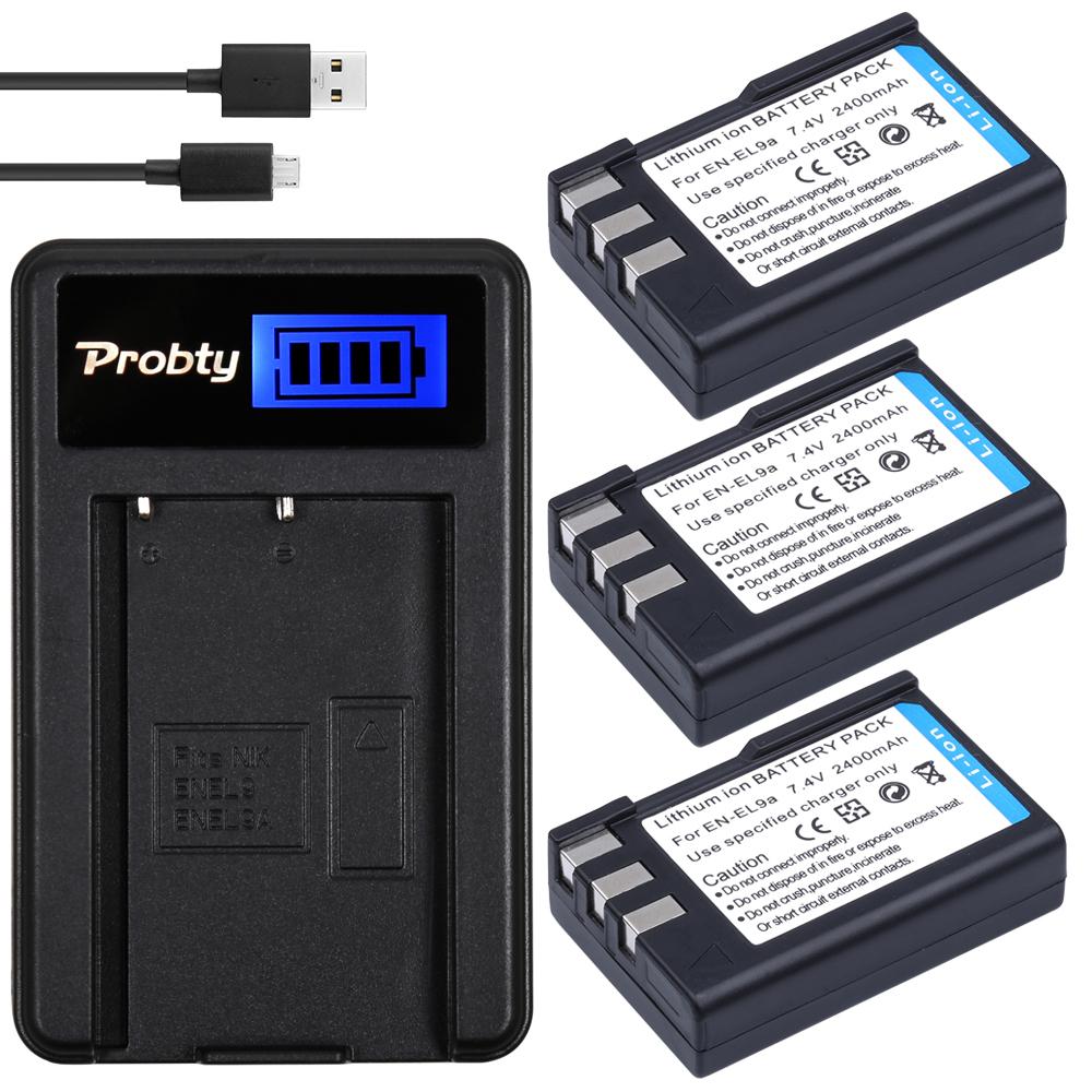 PROBTY 3Pcs 7.4V 2400mAh EN-EL9 ENEL9 EN EL9 Camera Battery +LCD USB charger for NikonD40 D40X D60 D3000 D5000(China (Mainland))