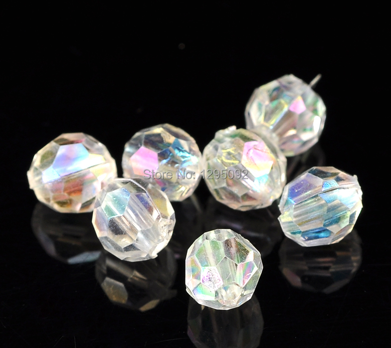 3000Pcs Round Faceted Acrylic Clear AB Color Spacer Beads Perles Perlas Jewelry Findings 6x6mm<br><br>Aliexpress