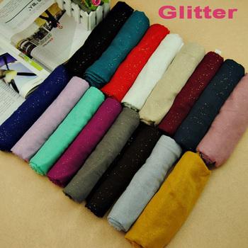 women printe glitter solid pure color plain 100% viscose muslim long hijab popular wrap scarf/shawls scarves 180*90cm